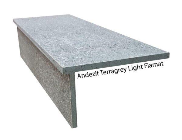 Trepte si contratrepte andezit Terragrey Light Fiamat